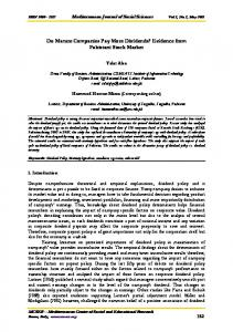 Do Mature Companies Pay More Dividends? Evidence ... - SSRN papers