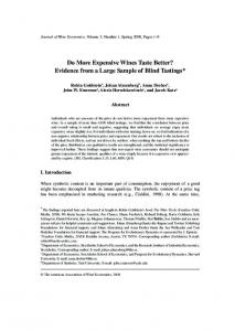 Do More Expensive Wines Taste Better? Evidence from a Large ...