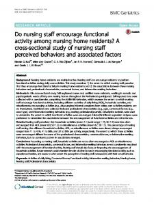 Do nursing staff encourage functional activity among nursing home ...