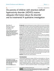 a research on the poor performance of children with attention deficit hyperactivity disorder adhd Attention deficit hyperactivity disorder (adhd) is a neurological condition that involves problems with inattention and hyperactivity-impulsivity that are developmentally inconsistent with the age of the child.