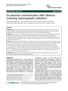 Do physician communication skills influence ... - BioMedSearch