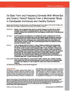 Do Stool Form and Frequency Correlate With Whole ...