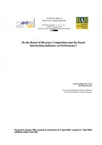 Do the Board of Directors Composition and the Board ... - SciELO