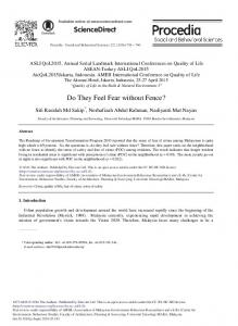 Do they Feel Fear without Fence? - ScienceDirect