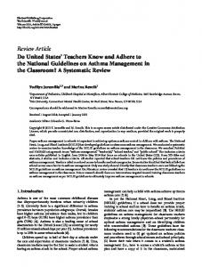 Do United States' Teachers Know and Adhere to the National ...
