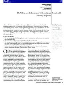 Do White Law Enforcement Officers Target ... - Wiley Online Library