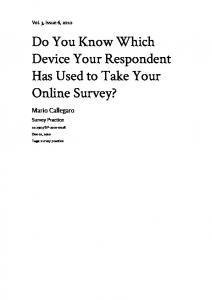 Do You Know Which Device Your Respondent Has ... - Survey Practice