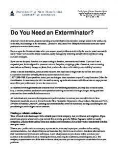 Do You Need and Exterminator? - Cooperative Extension