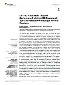 Do You Read How I Read? Systematic Individual