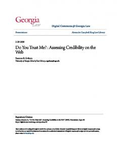 Do You Trust Me? : Assessing Credibility on the Web