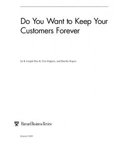 Do You Want to Keep Your Customers Forever - IEI
