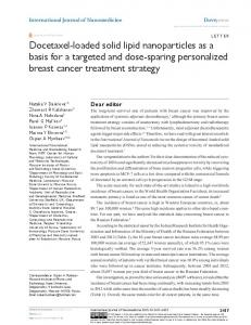 Docetaxel-loaded solid lipid nanoparticles as a ... - Semantic Scholar