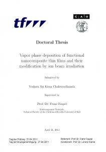 Doctoral Thesis Vapor phase deposition of functional
