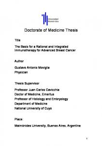 Doctorate of Medicine Thesis