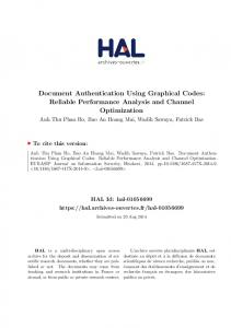 Document Authentication Using Graphical Codes: Reliable ... - Hal