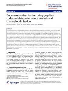 Document authentication using graphical codes: reliable performance ...