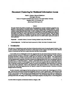 Document Clustering for Mediated Information Access - CiteSeerX