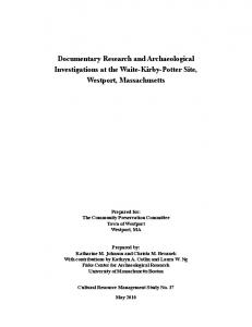Documentary Research and Archaeological Investigations at the ...