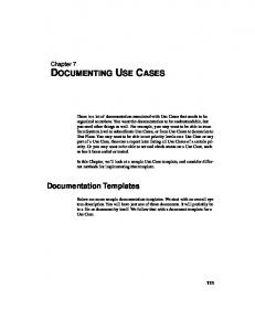 DOCUMENTING USE CASES