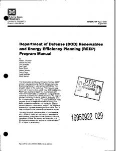 (DOD) Renewables and Energy Efficiency Planning ...