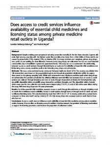 Does access to credit services influence availability of essential child ...