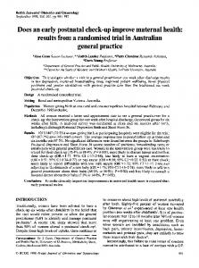 Does an early postnatal check-up improve ... - Wiley Online Library