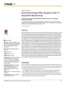 Does Body Image Affect Quality of Life?: A ... - Semantic Scholar