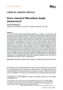 Does classical liberalism imply democracy? - Taylor & Francis Online