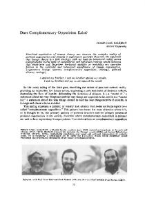 Does Complementary Opposition Exist? - Wiley Online Library
