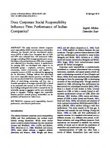 Does Corporate Social Responsibility Influence Firm ... - CiteSeerX