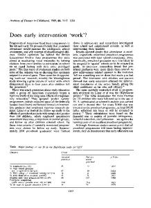 Does early intervention 'work'? - Europe PMC