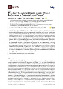 Does Early Recruitment Predict Greater Physical Performance ... - MDPI