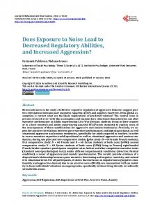 Does Exposure to Noise Lead to Decreased