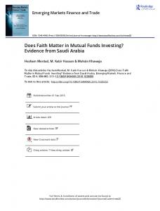 Does Faith Matter in Mutual Funds Investing ...