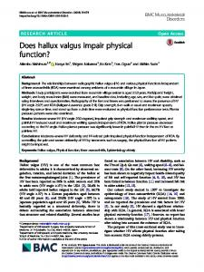 Does hallux valgus impair physical function? - BMC Musculoskeletal