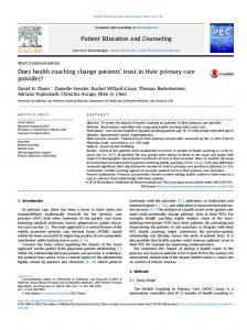 Does health coaching change patients' trust in their primary care ...