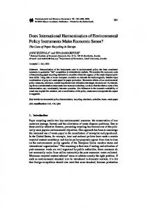 Does International Harmonization of Environmental Policy Instruments ...