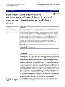 Does international trade improve environmental efficiency? An ...