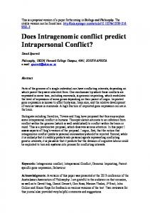 Does Intragenomic conflict predict Intrapersonal Conflict? - PhilArchive