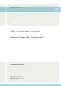 Does Labor Diversity Affect Firm Productivity? - PURE