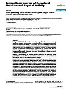 Does parenting affect children's eating and weight status?