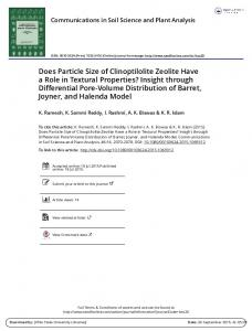 Does Particle Size of Clinoptilolite Zeolite Have a