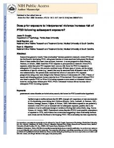 Does prior exposure to interpersonal violence increase risk of PTSD ...