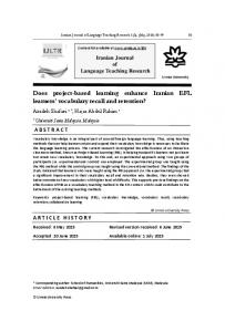 Does project-based learning enhance Iranian EFL learners ... - Eric