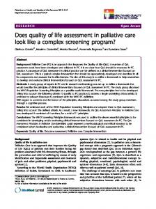 Does quality of life assessment in palliative care look ... - BioMedSearch