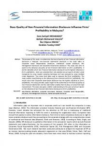 Does Quality of Non-Financial Information Disclosure ... - hrmars