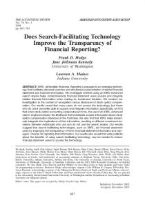 Does Search-Facilitating Technology Improve the ... - CiteSeerX