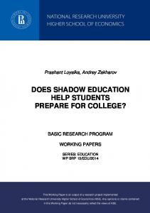 does shadow education help students prepare for college?