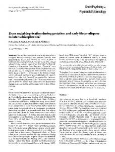 Does social deprivation during gestation and early life ... - Springer Link