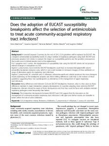 Does the adoption of EUCAST susceptibility ... - BioMedSearch